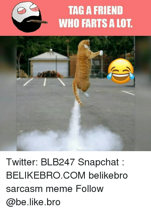 Sarcasmism: TAG A FRIEND  WHO FARTS A LOT Twitter: BLB247 Snapchat : BELIKEBRO.COM belikebro sarcasm meme Follow @be.like.bro