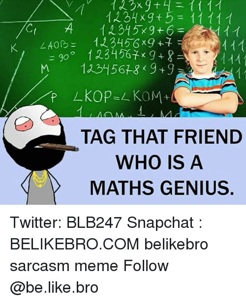 Be Like, Meme, and Memes: TAG THAT FRIEND  WHO IS A  MATHS GENIUS Twitter: BLB247 Snapchat : BELIKEBRO.COM belikebro sarcasm meme Follow @be.like.bro