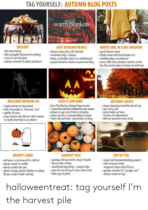 """On The Day: TAG YOURSELF: AUTUMN BLOG POSTS  warm blankets  DESSERT  WHITE GIRL IN A BIG SWEATER  .the mom friend  likes pumpkin flavored everythingrandomly sings/dances  stressed out but kind  unwise amount of online purchasespaypal donation button on personal blog  JUST AUTUMN THINGS  always trying diy raft tutorials  keeps a schedule chart on a whiteboard  good fashion sense  .drinks water with fruit hunks in it  weding ideas on pinterest  .posts selfie from another country on the  day they made plans to hang out with you  MACABRE/HORROR GIF  ACK O'LANTERNS  AUTUMN LEAVES  cryptic poetry on deviantart  refers to people as """"humans"""" a lot 1room decorated for Halloween year-round says sorry a lot  loves Tim Burton Johnny Depp movies  .enjoys planning travel but doesn't go  refers to people as """"humans"""" a  reptiles for pets  stops anyone who blesses thei snewe're all mad here"""" somewhere on blog  refuses to age out of trick or treating  makes you be a corresponding costume  never honks car horn  for fear of confrontation  willeat cereal for every meal  to darify that they're an atheist  SPOOPY COMIC  HARVEST PILE  CUP OF TEA  will wear a scarfeven if it's still hot  always wants to cuddle  always makes the pun  grumpy old man with a heart of gold  dresses like a hobo  unsolicited upgyding/compost tips  many half-finished knitting projects  tells everyone what  hogwarts house they'd be in  always full due to taking  goes far out of way to save a few cents  google searches for'  """"google.com""""  80 pic a day of their cat/dog  looks gay in plaid  always wants to nap halloweentreat:  tag yourself I'm the harvest pile"""