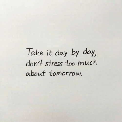 Too Much, Tomorrow, and Stress: Take it day by day,  don't stress too much  about tomorrow