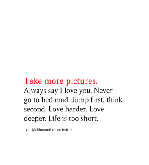 Life, Love, and Memes: Take more pictures.  Always say I love you. Never  go to bed mad. Jump first, think  second. Love harder. Love  deeper. Life is too short  via @chlooomiller on twitter