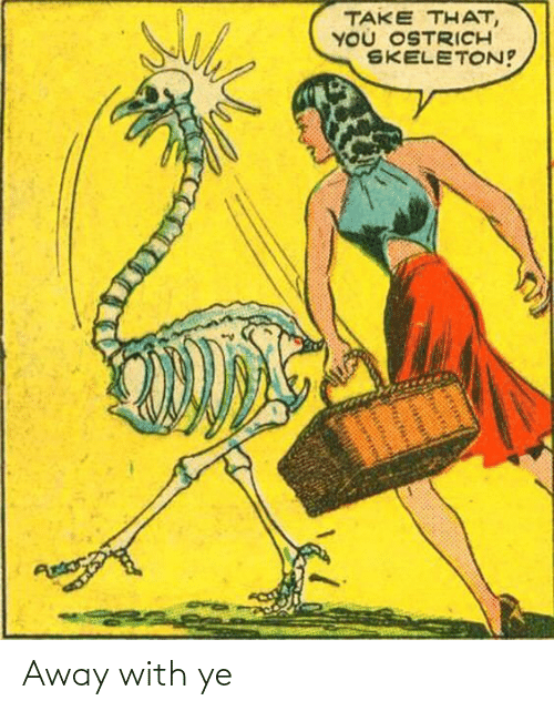 skeleton: TAKE THAT,  YOU OSTRICH  SKELETON!  Antors Away with ye