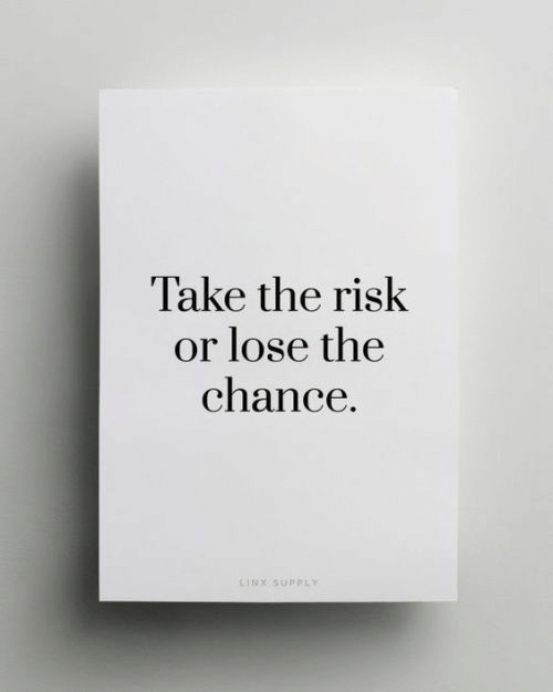 risk: Take the risk  or lose the  chance.