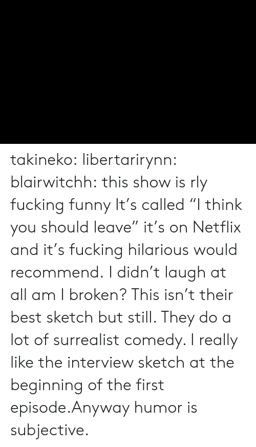 "Fucking, Funny, and Netflix: takineko:  libertarirynn:  blairwitchh:  this show is rly fucking funny  It's called ""I think you should leave"" it's on Netflix and it's fucking hilarious would recommend.  I didn't laugh at all am I broken?  This isn't their best sketch but still. They do a lot of surrealist comedy. I really like the interview sketch at the beginning of the first episode.Anyway humor is subjective."