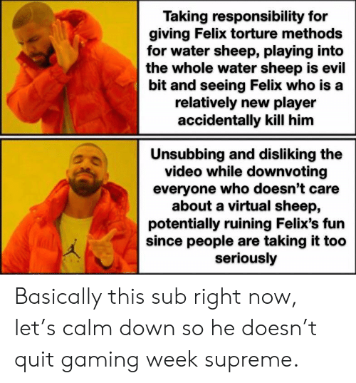Supreme, Video, and Water: Taking responsibility for  giving Felix torture methods  for water sheep, playing into  the whole water sheep is evil  bit and seeing Felix who is a  relatively new player  accidentally kill him  Unsubbing and disliking the  video while downvoting  everyone who doesn't care  about a virtual sheep,  potentially ruining Felix's fun  since people are taking it too  seriously Basically this sub right now, let's calm down so he doesn't quit gaming week supreme.