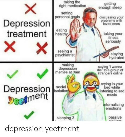 Crying, Goals, and Memes: taking the  right medication  getting  enough sleep  setting  personal goals  discussing your  problems with  loved ones  Depression  treatmentea  X  eating  taking your  illness  seriously  X  seeing a  psychiatrist  staying  hydrated  making  depression  memes at 3am  saying i wanna  die to a group of  strangers online  crying in your  bed while  listening to sad  music  Depressionon  Jeetment  social  isolation  internalizing  emotions  sleeping 3  passive  ibilion  X depression yeetment