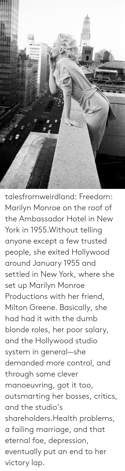 Dumb, Marriage, and New York: talesfromweirdland:  Freedom: Marilyn Monroe on the roof of the Ambassador Hotel in New York in 1955.Without telling anyone except a few trusted people, she exited Hollywood around January 1955 and settled in New York, where she set up Marilyn Monroe Productions with her friend, Milton Greene. Basically, she had had it with the dumb blonde roles, her poor salary, and the Hollywood studio system in general—she demanded more control, and through some clever manoeuvring, got it too, outsmarting her bosses, critics, and the studio's shareholders.Health problems, a failing marriage, and that eternal foe, depression, eventually put an end to her victory lap.