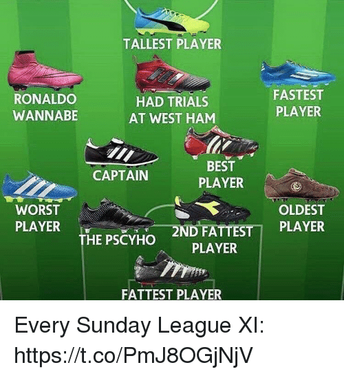 west ham: TALLEST PLAYER  RONALDO  WANNABE  HAD TRIALS  AT WEST HAM  FASTEST  PLAYER  BEST  PLAYER  CAPTAIN  WORST  PLAYER  OLDEST  2N  DFATTESTİ PLAYER  PLAYER  THE PSCYHO  FATTEST PLAYER Every Sunday League XI: https://t.co/PmJ8OGjNjV