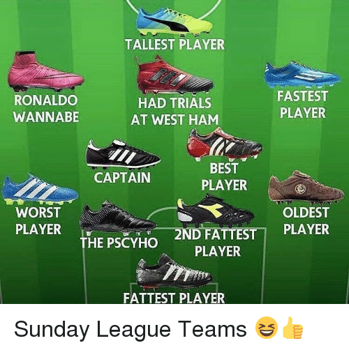 west ham: TALLEST PLAYER  RONALDO  WANNABE  HAD TRIALS  AT WEST HAM  FASTEST  PLAYER  BEST  PLAYER  CAPTAIN  WORST  PLAYER  OLDEST  _2N  D FATTEST1 PLAYER  THE PSCYHO  PLAYER  FATTEST PLAYER Sunday League Teams 😆👍