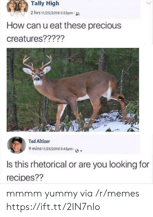 Recipes: Tally High  2 hrs 11/25/2018 3:53pm  How can u eat these precious  creatures?????  Ted Altizer  9 mins 11/25/2018 5:43pm  Is this rhetorical or are you looking for  recipes?? mmmm yummy via /r/memes https://ift.tt/2IN7nIo