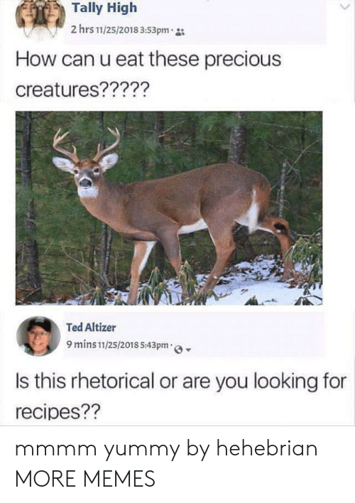 Recipes: Tally High  2 hrs 11/25/2018 3:53pm  How can u eat these precious  creatures?????  Ted Altizer  9 mins 11/25/2018 5:43pm  Is this rhetorical or are you looking for  recipes?? mmmm yummy by hehebrian MORE MEMES