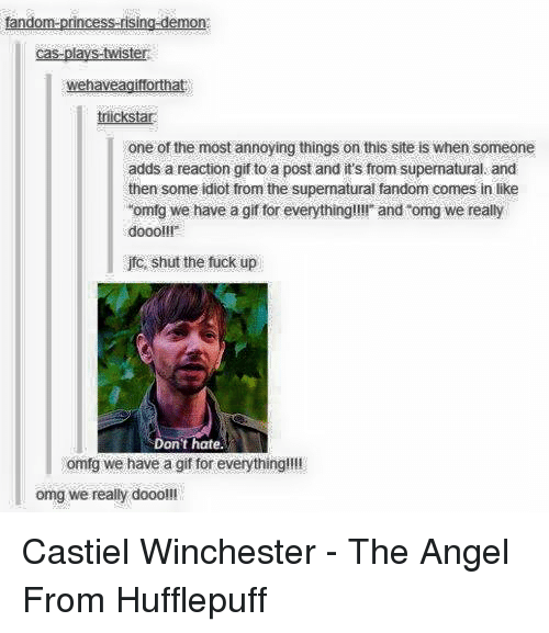 """reaction gifs: tandom-princess-rising-demon  cas-plays-twister  wehaveagiforthat  icksta  one of the most annoying things on this site is when someone  adds a reaction gif to a post and it's from supernatural and  then some idiot from the supermatural fandom comes in like  """"omfg we have a gif for everything!!!! and """"omg we really  doooll!  jfo, shut the fuck up  Don't hate.  omfg we have a gif for everything!!!!  omg we really dooo!!! Castiel Winchester - The Angel From Hufflepuff"""
