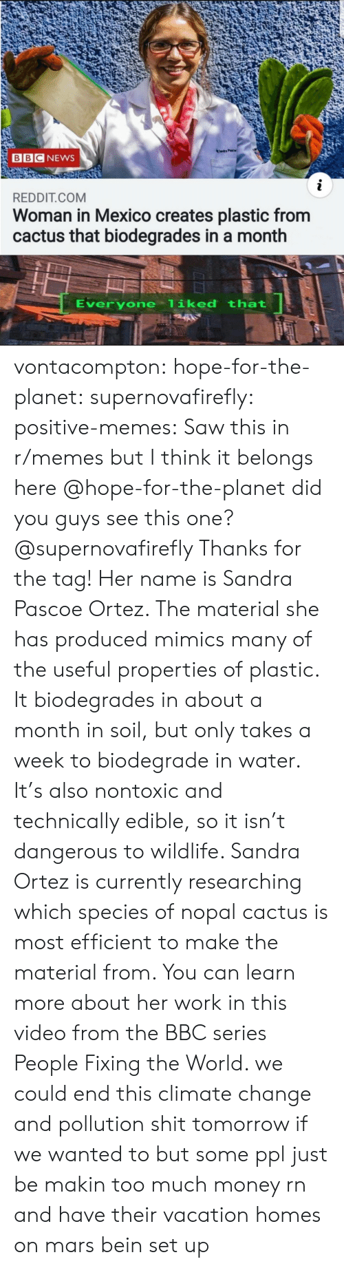 Juice, Memes, and Money: Tandr Pac  BBC NEWS  i  REDDIT.COM  Woman in Mexico creates plastic from  cactus that biodegrades in a month  Everyone liked that vontacompton:  hope-for-the-planet:  supernovafirefly:  positive-memes: Saw this in r/memes but I think it belongs here @hope-for-the-planet did you guys see this one?  @supernovafirefly Thanks for the tag! Her name is Sandra Pascoe Ortez. The material she has produced mimics many of the useful properties of plastic. It biodegrades in about a month in soil, but only takes a week to biodegrade in water. It's also nontoxic and technically edible, so it isn't dangerous to wildlife.  Sandra Ortez is currently researching which species of nopal cactus is most efficient to make the material from. You can learn more about her work in this video from the BBC series People Fixing the World.   we could end this climate change and pollution shit tomorrow if we wanted to but some ppl just be makin too much money rn and have their vacation homes on mars bein set up