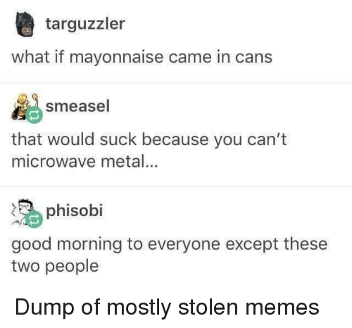 Memes, Good Morning, and Good: targuzzler  what if mayonnaise came in cans  smeasel  that would suck because you can't  microwave metal  phisobi  good morning to everyone except these  two people Dump of mostly stolen memes