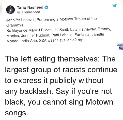Beyonce, Grammys, and Jennifer Lopez: Tariq Nasheed  @tariqnasheed  Jennifer Lopez is Performing a Motown Tribute at the  Grammys  So Beyonce,Mary J Blidge, Jill Scott, Lala Hathaway, Brandy,  Monica, Jennifer Hudson, Patti Labelle, Fantasia, Janelle  Monae, India Arie, SZA wasn't available? rap-