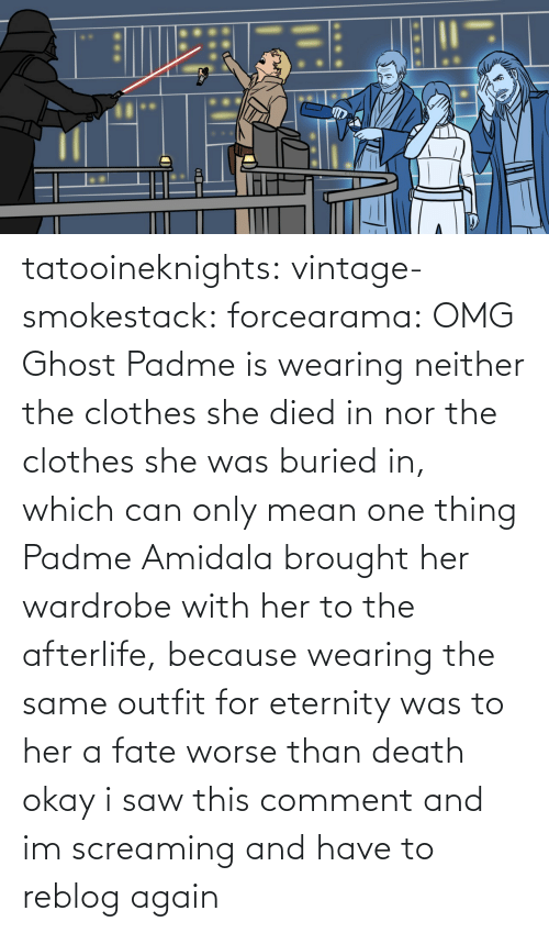 Nor: tatooineknights: vintage-smokestack:   forcearama: OMG Ghost Padme is wearing neither the clothes she died in nor the clothes she was buried in, which can only mean one thing  Padme Amidala brought her wardrobe with her to the afterlife, because wearing the same outfit for eternity was to her a fate worse than death   okay i saw this comment and im screaming and have to reblog again