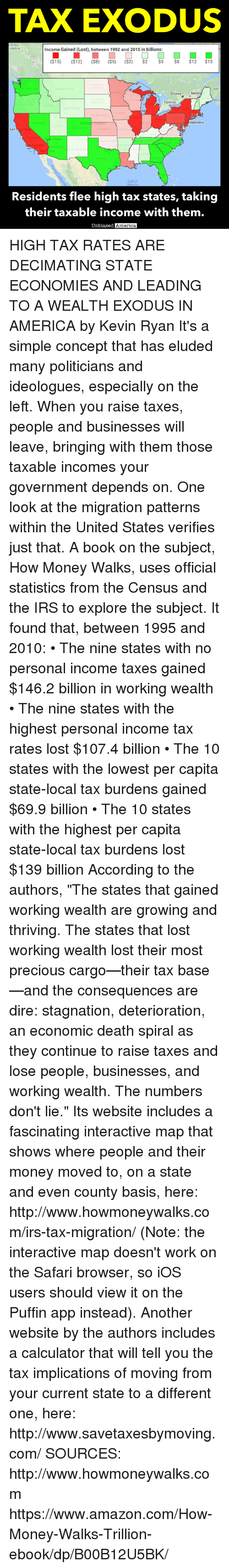 """Exodus: TAX EXODUS  ITISH  UMBIA  Income Gained (Lost), between 1992 and 2015 in billions:  ($15)  ($12)  ($8) ($5) ($2)  $2  $5  $8  $12  $15  NORTH  DAKOTA  NB  NNESO  Montr  Ottawa  SOUTH  VISCON  NOV  Toronto  DAKO  OREGON  DAHO  NEBRASKA  PENN  Unite  States  iladelphia  NEVADA  LORADO  San  KANSAS  SSOUR  LIFORN  s Vegas  NORTH  ENNESSEE  AROL  geles  ARIZONA  TEXAS  EORG  On  FOR  Gulf of  Residents flee high tax states, taking  their taxable income with them.  biased America, HIGH TAX RATES ARE DECIMATING STATE ECONOMIES AND LEADING TO A WEALTH EXODUS IN AMERICA by Kevin Ryan  It's a simple concept that has eluded many politicians and ideologues, especially on the left.  When you raise taxes, people and businesses will leave, bringing with them those taxable incomes your government depends on.  One look at the migration patterns within the United States verifies just that.  A book on the subject, How Money Walks, uses official statistics from the Census and the IRS to explore the subject.  It found that, between 1995 and 2010:  • The nine states with no personal income taxes gained $146.2 billion in working wealth • The nine states with the highest personal income tax rates lost $107.4 billion • The 10 states with the lowest per capita state-local tax burdens gained $69.9 billion • The 10 states with the highest per capita state-local tax burdens lost $139 billion  According to the authors, """"The states that gained working wealth are growing and thriving. The states that lost working wealth lost their most precious cargo—their tax base—and the consequences are dire: stagnation, deterioration, an economic death spiral as they continue to raise taxes and lose people, businesses, and working wealth. The numbers don't lie.""""  Its website includes a fascinating interactive map that shows where people and their money moved to, on a state and even county basis, here:  http://www.howmoneywalks.com/irs-tax-migration/ (Note: the interactive map doesn't work on the Safar"""