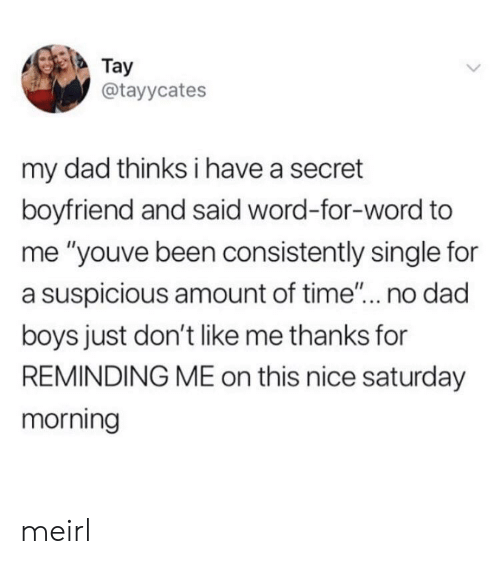 "Dad, Time, and Word: Tay  @tayycates  my dad thinks i have a secret  boyfriend and said word-for-word to  me ""youve been consistently single for  a suspicious amount of time""... no dad  boys just don't like me thanks for  REMINDING ME on this nice saturday  morning meirl"