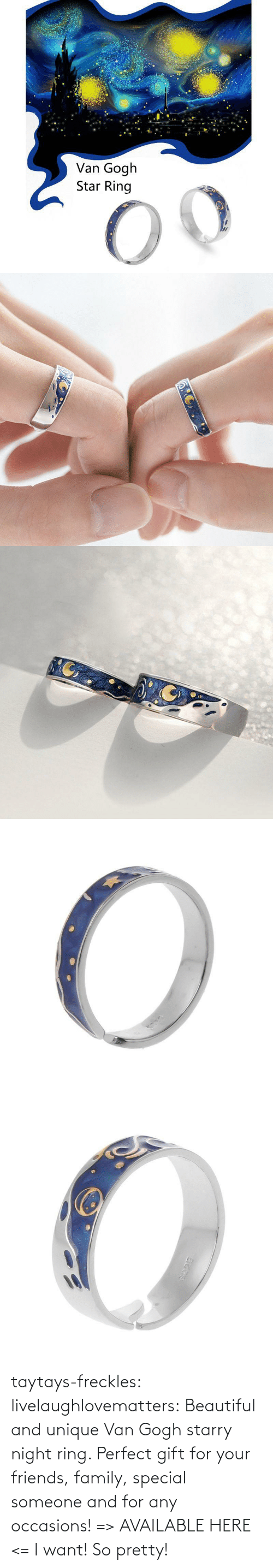 van: taytays-freckles: livelaughlovematters:  Beautiful and unique Van Gogh starry night ring. Perfect gift for your friends, family, special someone and for any occasions! => AVAILABLE HERE <=    I want! So pretty!