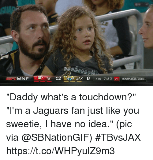"Touchdowners: TB 12  JAX 6 4TH 7:53 25 MONDAY NIGHT FOOTBALL ""Daddy what's a touchdown?"" ""I'm a Jaguars fan just like you sweetie, I have no idea.""  (pic via @SBNationGIF) #TBvsJAX https://t.co/WHPyulZ9m3"