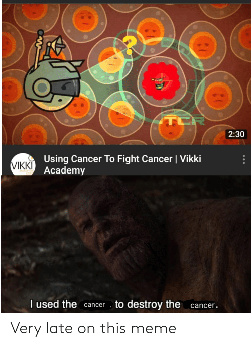 Meme, Academy, and Cancer: TCR  2:30  Using Cancer To Fight Cancer | Vikki  Academy  VIKKI  I used thecancer  to destroy the cancer. Very late on this meme