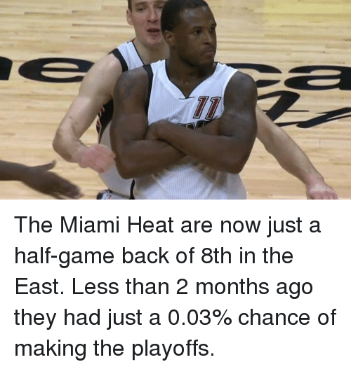The Miami Heat: TD The Miami Heat are now just a half-game back of 8th in the East.  Less than 2 months ago they had just a 0.03% chance of making the playoffs.