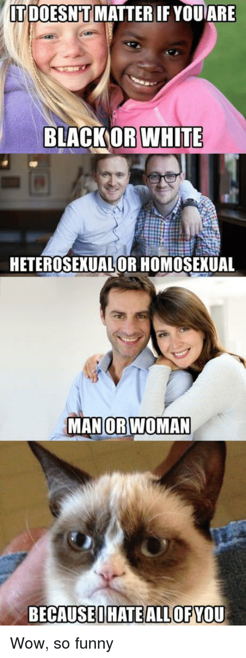 homosexual: TDOESN T MATTER IF YOUARE  BLACKORWHITE  HETEROSEXUALOR HOMOSEXUAL  MANOR  WOMAN  BECAUSEIHATE ALLOF YOU Wow, so funny