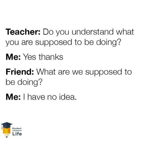 Life, Teacher, and Idea: Teacher: Do you understand what  you are supposed to be doing?  Me: Yes thanks  Friend: What are we supposed to  be doing?  Me: I have no idea.  Student  Life