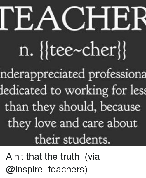 Cher, Love, and Memes: TEACHER  n. tee~cher  nderappreciated professiona  dedicated to working for less  than they should, because  they love and care about  their students. Ain't that the truth! (via @inspire_teachers)