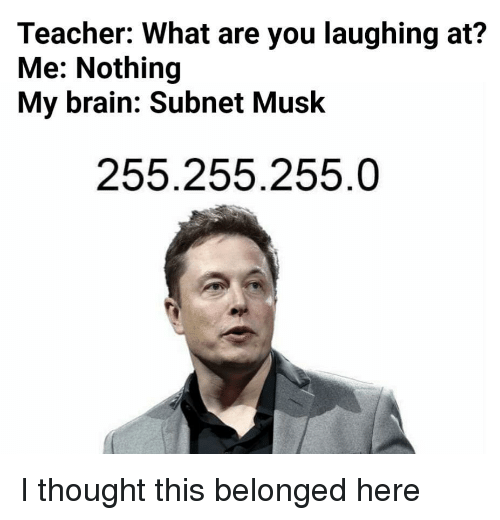 Teacher, Brain, and Thought: Teacher: What are you laughing at?  Me: Nothing  My brain: Subnet Musk  255.255.255.0 I thought this belonged here