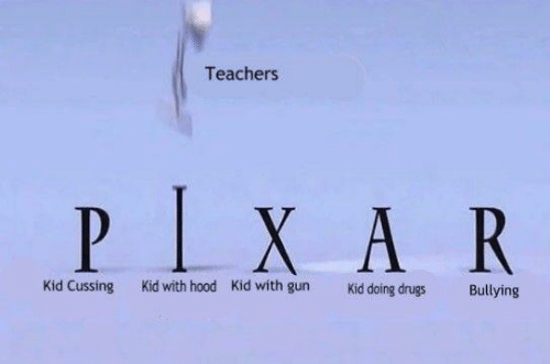 bullying: Teachers  PIXAR  Kid with gun  Kid Cussing  Kid with hood  Kid doing drugs  Bullying