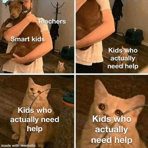 smart: Teachers  Smart kids  Kids who  actually  need help  Kids who  Kids who  actually need  help  actually  need help  made with mematic