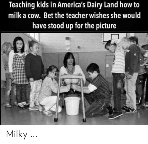 Stood: Teaching kids in America's Dairy Land how to  milk a cow. Bet the teacher wishes she would  have stood up for the picture Milky …