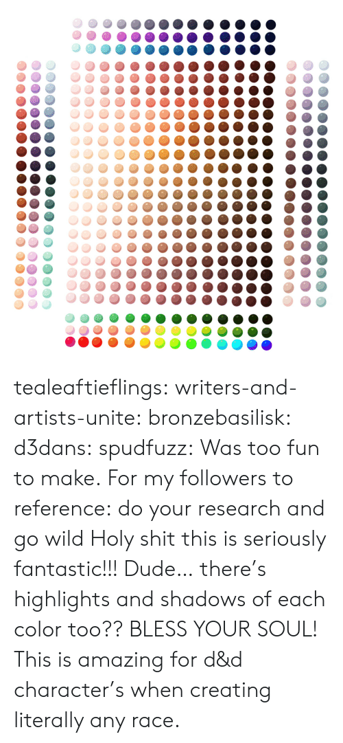 d&amp d: tealeaftieflings: writers-and-artists-unite:  bronzebasilisk:  d3dans:  spudfuzz:  Was too fun to make.  For my followers to reference: do your research and go wild  Holy shit this is seriously fantastic!!!  Dude… there's highlights and shadows of each color too?? BLESS YOUR SOUL!   This is amazing for d&d character's when creating literally any race.