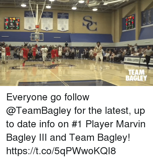 Memes, Date, and 🤖: TEAM  BAGLEY Everyone go follow @TeamBagley for the latest, up to date info on #1 Player Marvin Bagley III and Team Bagley! https://t.co/5qPWwoKQI8