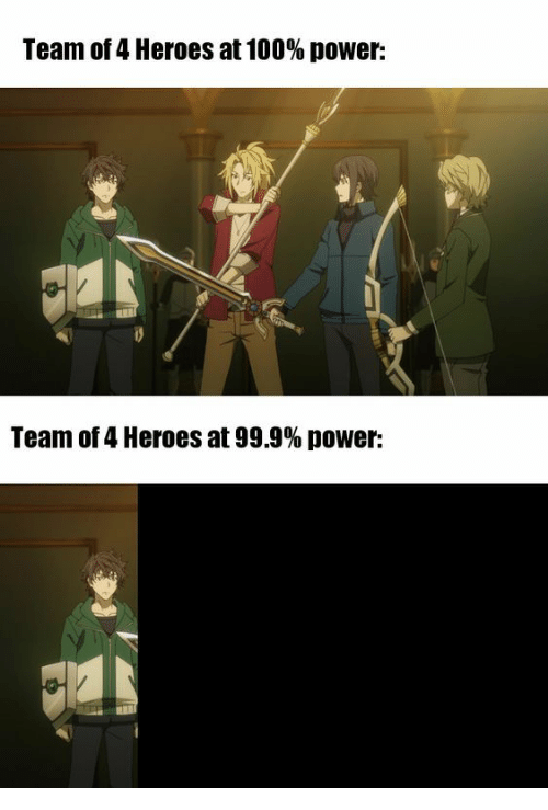 Heroes, Power, and Team: Team of 4 Heroes at 100% power:  Team of 4 Heroes at 99.9% power: