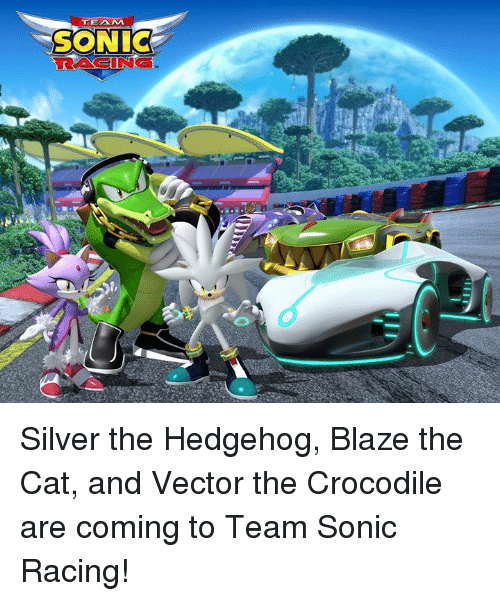 Dank, Blaze, and Hedgehog: TEAM  SONIC  RACING Silver the Hedgehog, Blaze the Cat, and Vector the Crocodile are coming to Team Sonic Racing!