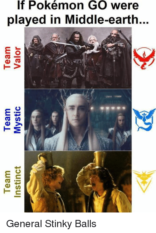 Team Instinct: Team  Team  Team  Instinct  Mystic  Valor  a  鴔  If Pokémon GO were  played in Middle-earth...  ea  TV  aaaa -aaaaa  濑  as  ey  TM  at  es  T ns General Stinky Balls