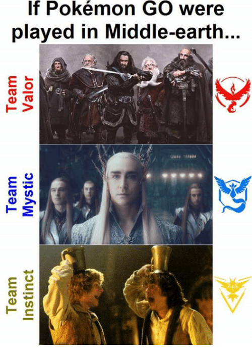 Team Instinct: Team  Team  Team  Instinct  Mystic  Valor  a  If Pokémon GO were  played in Middle-earth...  鴔  ea  TV  aaaa -eaaaa  濑  as  ey  TM  at  es  T ns