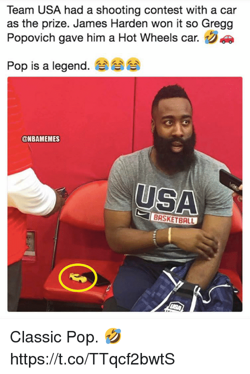 usa basketball: Team USA had a shooting contest with a car  as the prize. James Harden won it so Gregg  Popovich gave him a Hot Wheels car.  Pop is a legend. 숍  @NBAMEMES  USA  BASKETBALL Classic Pop. 🤣 https://t.co/TTqcf2bwtS