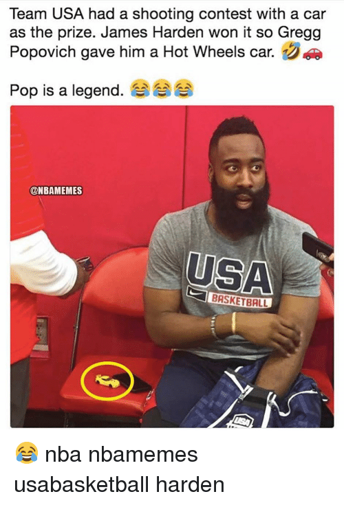popovich: Team USA had a shooting contest with a car  as the prize. James Harden won it so Gregg  Popovich gave him a Hot Wheels car.  Pop is a legend. 숍  @NBAMEMES  USA  BRSKETBALL 😂 nba nbamemes usabasketball harden