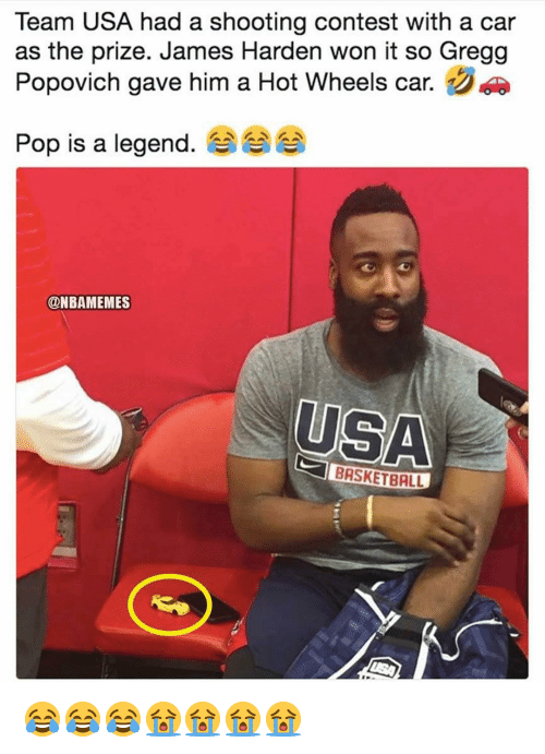 usa basketball: Team USA had a shooting contest with a car  as the prize. James Harden won it so Gregg  Popovich gave him a Hot Wheels car.  Pop is a legend, aaaaA  @NBAMEMES  USA  BASKETBALL 😂😂😂😭😭😭😭