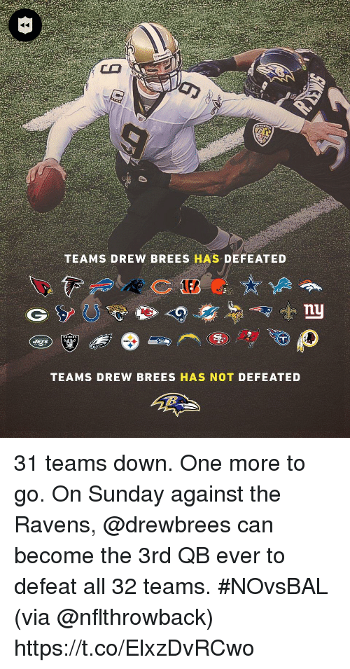 Drew Brees: TEAMS DREW BREES HAS DEFEATED  nu  TEAMS DREW BREES HAS NOT DEFEATED 31 teams down. One more to go.  On Sunday against the Ravens, @drewbrees can become the 3rd QB ever to defeat all 32 teams. #NOvsBAL (via @nflthrowback) https://t.co/ElxzDvRCwo