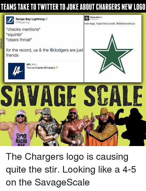 Dodger: TEAMS TAKE TO TWITTER TOJOKE ABOUT CHARGERS NEW LOGO  Dallas Stars  Tampa Bay Lightning  aTBLightning  new logo. hope this is cool, @dallascowboys  checks mentions  Squints  clears throat  for the record, us & the @dodgers are just  friends  NFL.  NFL  The Los Angeles @Chargers  SAVAGE SCALE  MACHO  RAAT The Chargers logo is causing quite the stir. Looking like a 4-5 on the SavageScale