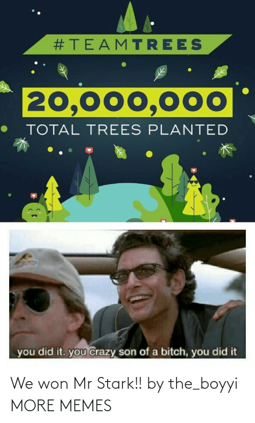 son of a bitch:  #TEAMTREES  20,000,000  TOTAL TREES PLANTED  you did it. you crazy son of a bitch, you did it We won Mr Stark!! by the_boyyi MORE MEMES