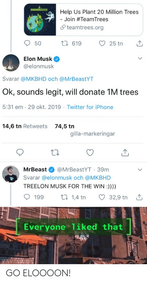 1 4: TEAMTREES  Help Us Plant 20 Million Trees  Join #TeamTrees  teamtrees.org  2i 619  25 tn  50  Elon Musk  @elonmusk  Svarar @MKBHD och @MrBeastYT  Ok, sounds legit, will donate 1M trees  5:31 em 29 okt. 2019 Twitter for iPhone  14,6 tn Retweets  74,5 tn  gilla-markeringar  @MrBeastYT 39m  MrBeast  Svarar @elonmusk och @MKBHD  TREELON MUSK FOR THE WIN :))))  t 1,4 tn  199  32,9 tn  Everyone liked that GO ELOOOON!