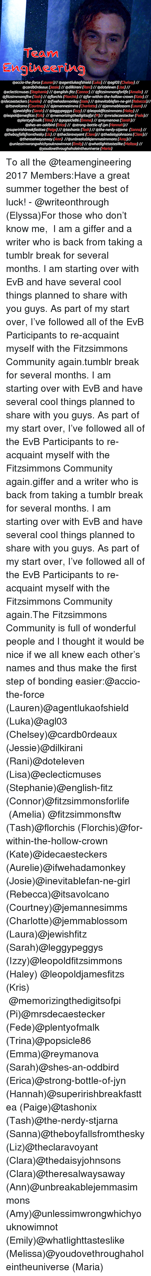 Af, Community, and Tumblr: Teann  eaccio-the-force (Louren)l/ @agentlukaofshield(a)1/ eaglo3 (Chese)1  @cardbOrdeaux (lessle)// @dilkirani (Rani) 1/ @doteleven (Lisa)/  @eclecticmuses (Stephonle)// @english-fitz (Connor)// @fitzsimmonsforlife (Amello) I1  @fitzsimmonsftw(Tash)// @florchis (Florchis)// @for-within-the-hollow-crown (Kate) 1/  @idecaesteckers (Aurelle) 1/ @ifwehadamonkey (josle)1/ @inevitablefan-ne-girl (Rebecoo)  @itsavolcano (Courtney)/@jemannesimms (Charlotte) 1/ @jemmablossom (Louro) //  @jewishfitz (Sarah)// @leggypeggys (zzy)I/@leopoldjfitzsimmons (Haley)/  @leopoldjamesfitzs (ris) I/ @memorizingthedigitsofpi (P)I @mrsdecaestecker (Fede)ll  @plentyofmalk (Trina)// @popsicle86 (Emma) I/ @reymanova (Sarah)ll  @shes-an-oddbird (Erlca)// @strong-bottle-of-jyn (Hannahl  @superirishbreakfasttea (Paige)// @tashonix (Tosh)// @the-nerdy-stjarna (Sanna)l  @theboyfallsfromthesky (a)//@theclaravoyant (Clara)l/@thedaisyjohnsons (Claro)  @theresalwaysaway (Ann) I/@unbreakablejemmasimmons (Amy)  @unlessimwrongwhichyouknowimnot (Emily) // @whatlighttasteslike (Melilssa) /  @youdovethroughaholeintheuniverse (Marla) To all the@teamengineering 2017 Members:Have a great summer together  the best of luck!-@writeonthrough (Elyssa)For those who don't know me, I am a giffer and a writer who is back from taking a tumblr break for several months. I am starting over with EvB and have several cool things planned to share with you guys. As part of my start over, I've followed all of the EvB Participants to re-acquaint myself with the Fitzsimmons Community again.tumblr break for several months. I am starting over with EvB and have several cool things planned to share with you guys. As part of my start over, I've followed all of the EvB Participants to re-acquaint myself with the Fitzsimmons Community again.giffer and a writer who is back from taking a tumblr break for several months. I am starting over with EvB and have several cool things planned to share with you guys. As p
