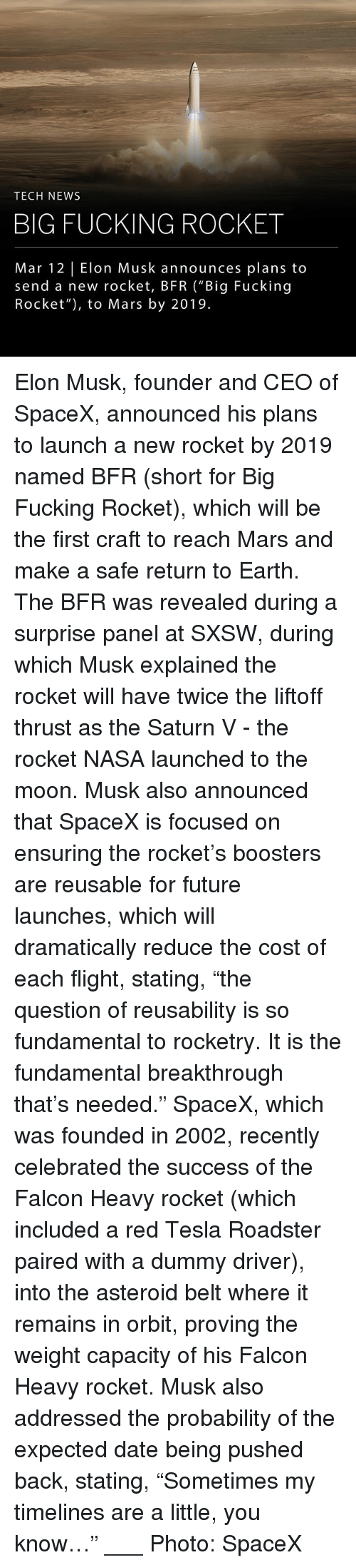 """Sxsw: TECH NEWS  BIG FUCKING ROCKET  Mar 12 