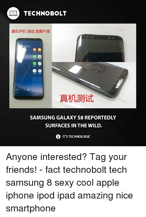 Iphoned: TECHNOBOLT  真机开机测试数据可靠  圖圖  真机测试  SAMSUNG GALAXY S8 REPORTEDLY  SURFACES IN THE WILD.  0 IT'S TECHNOLOGIC Anyone interested? Tag your friends! - fact technobolt tech samsung 8 sexy cool apple iphone ipod ipad amazing nice smartphone