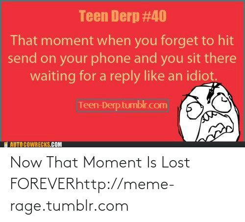 You Sit: Teen Derp #40  That moment when you forget to hit  send on your phone and you sit there  waiting for a reply like an idiot.  Teen-Derptumblr.com  I AUTO COWRECKS.COM Now That Moment Is Lost FOREVERhttp://meme-rage.tumblr.com